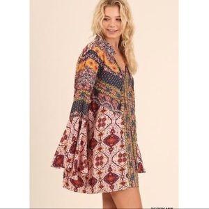 UMGEE | Boho Bell Sleeve Multi Print Dress